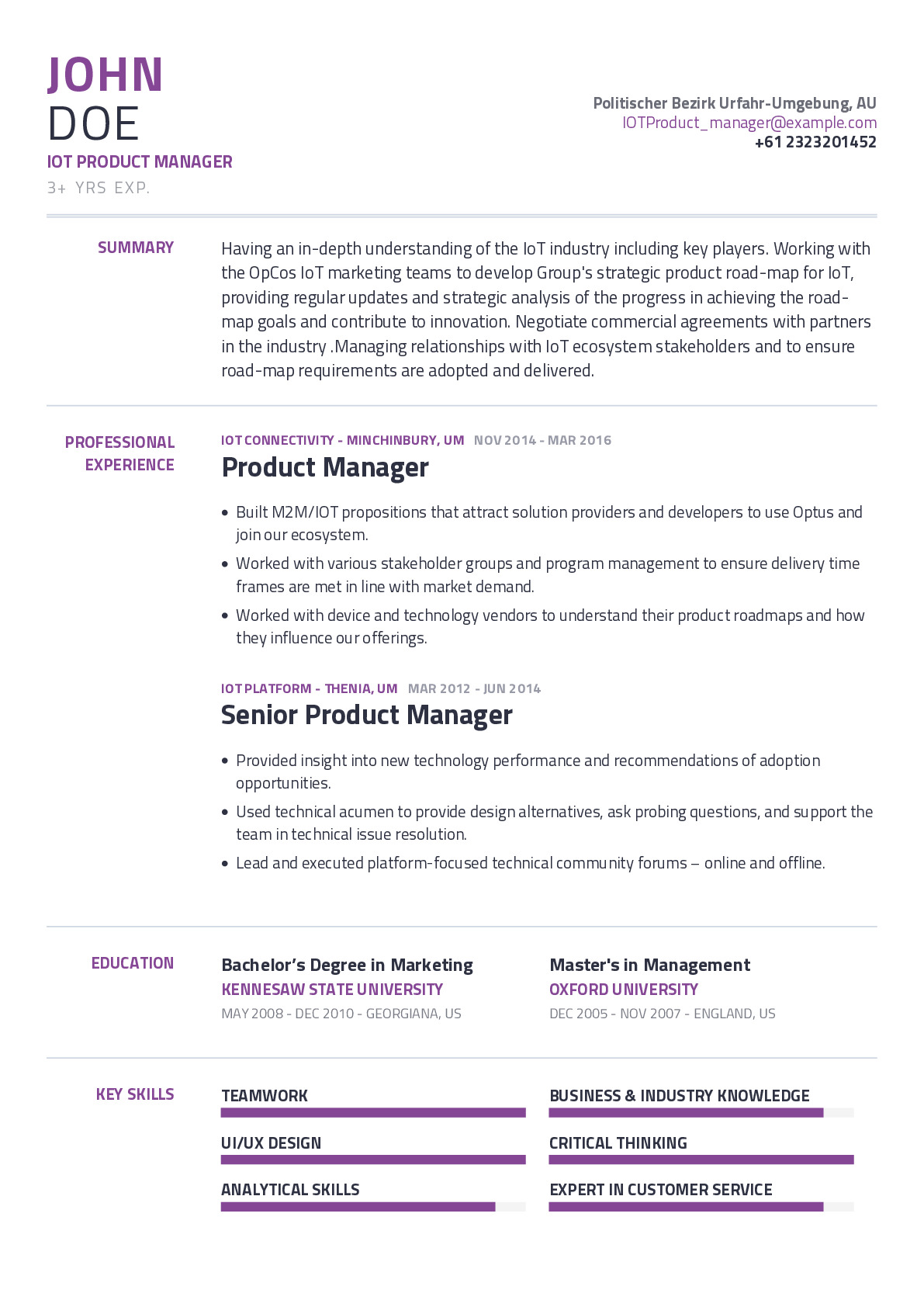 IOT Product Manager Resume Example