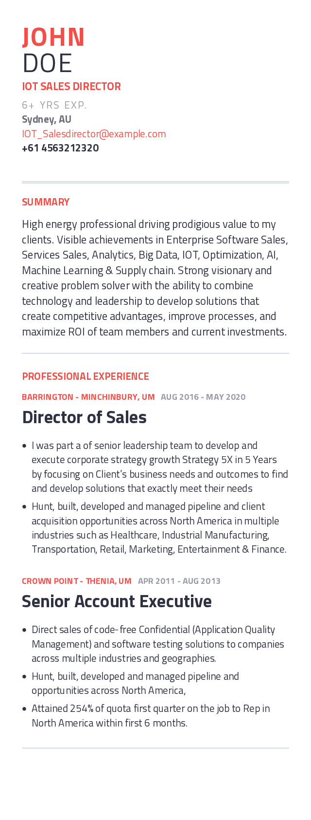 IOT Sales Director Mobile Resume Example