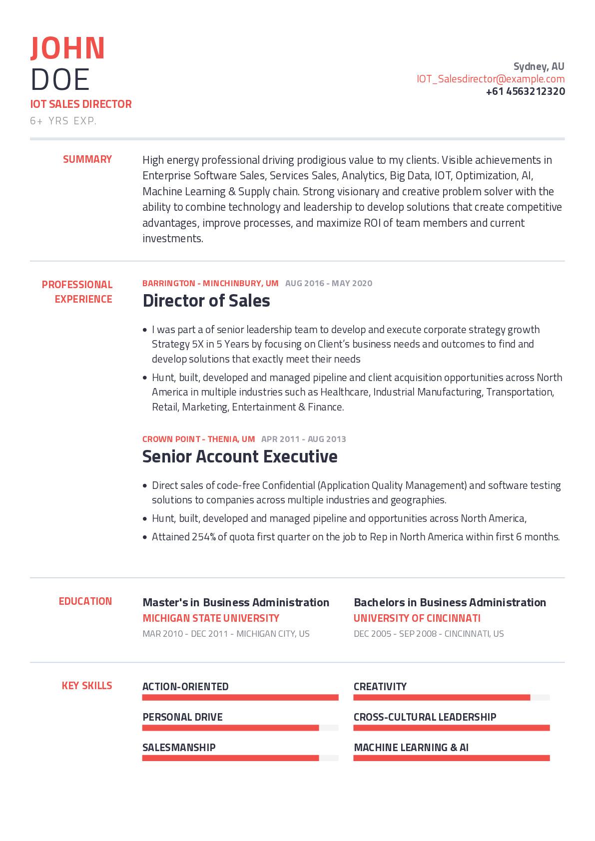 IOT Sales Director Resume Example