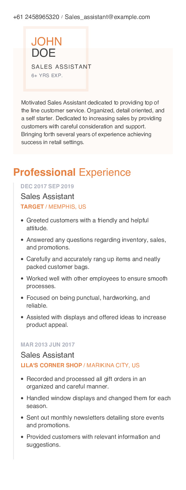 Sales Assistant Mobile Resume Example