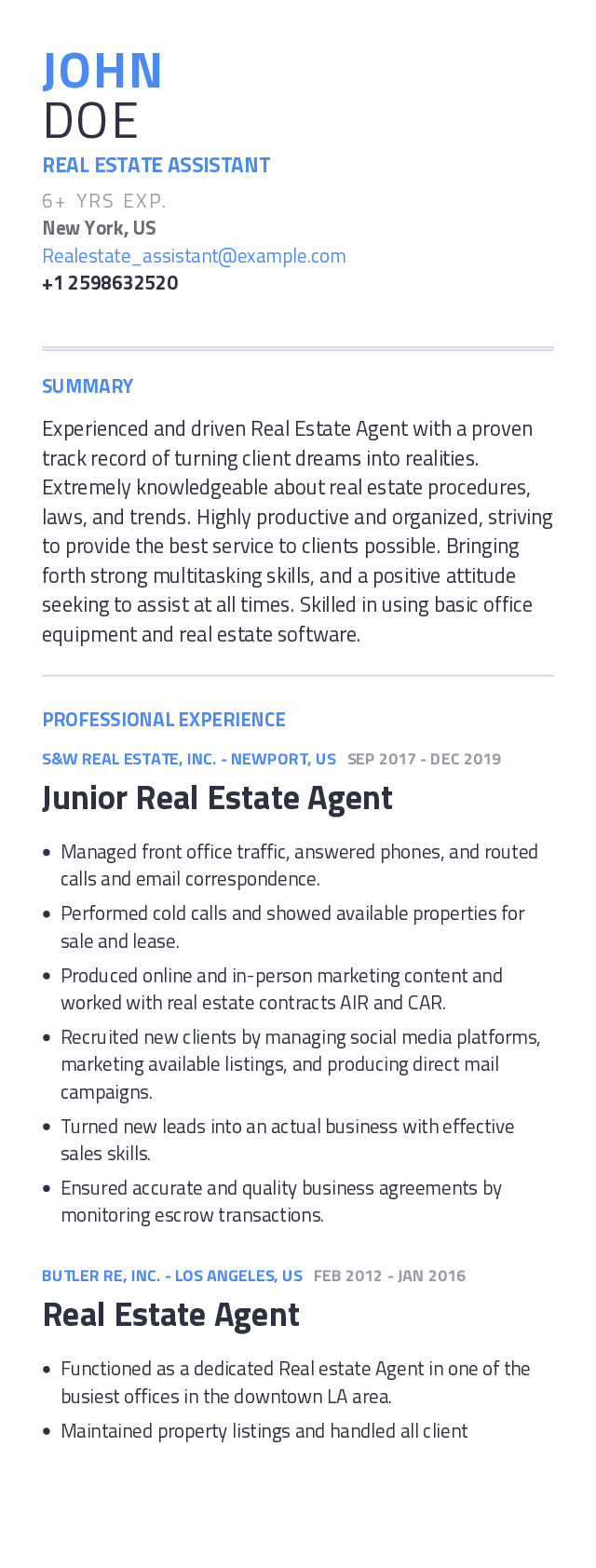 Real Estate Assistant Mobile Resume Example