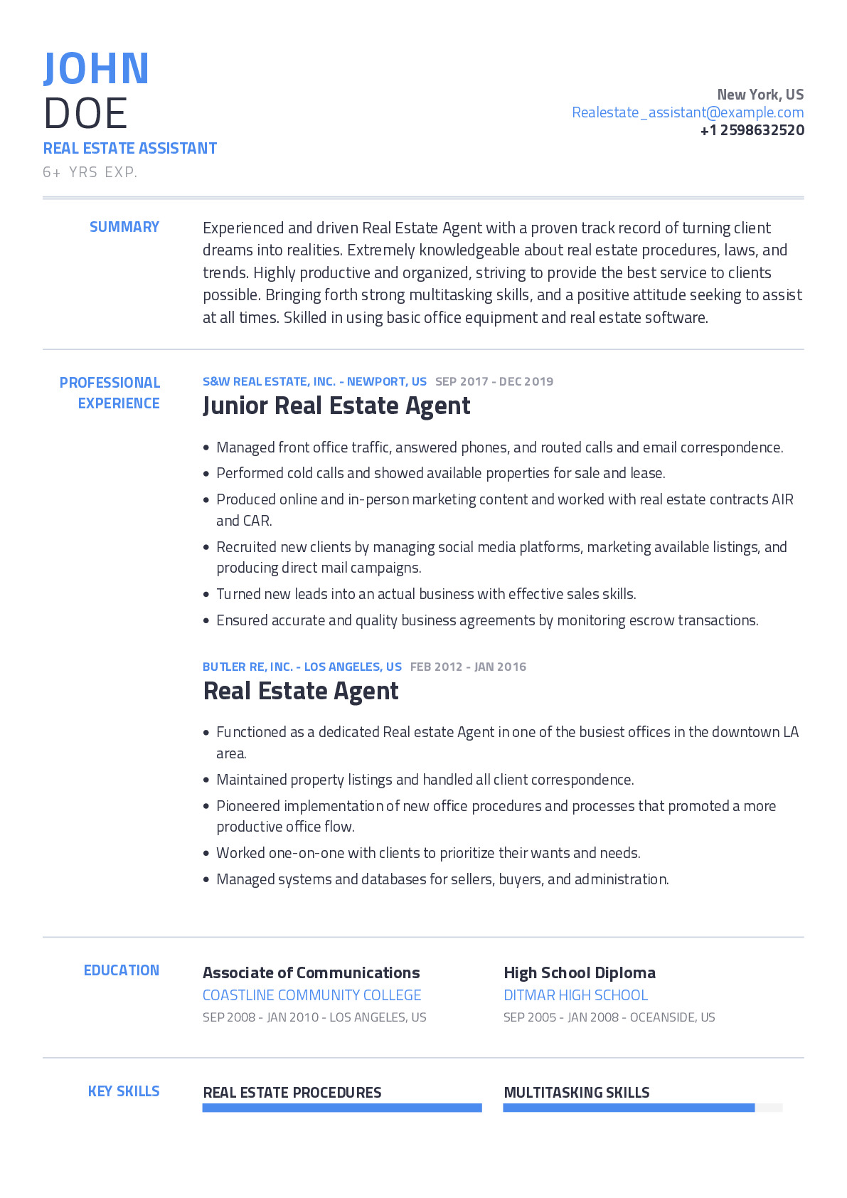 Real Estate Assistant Resume Example