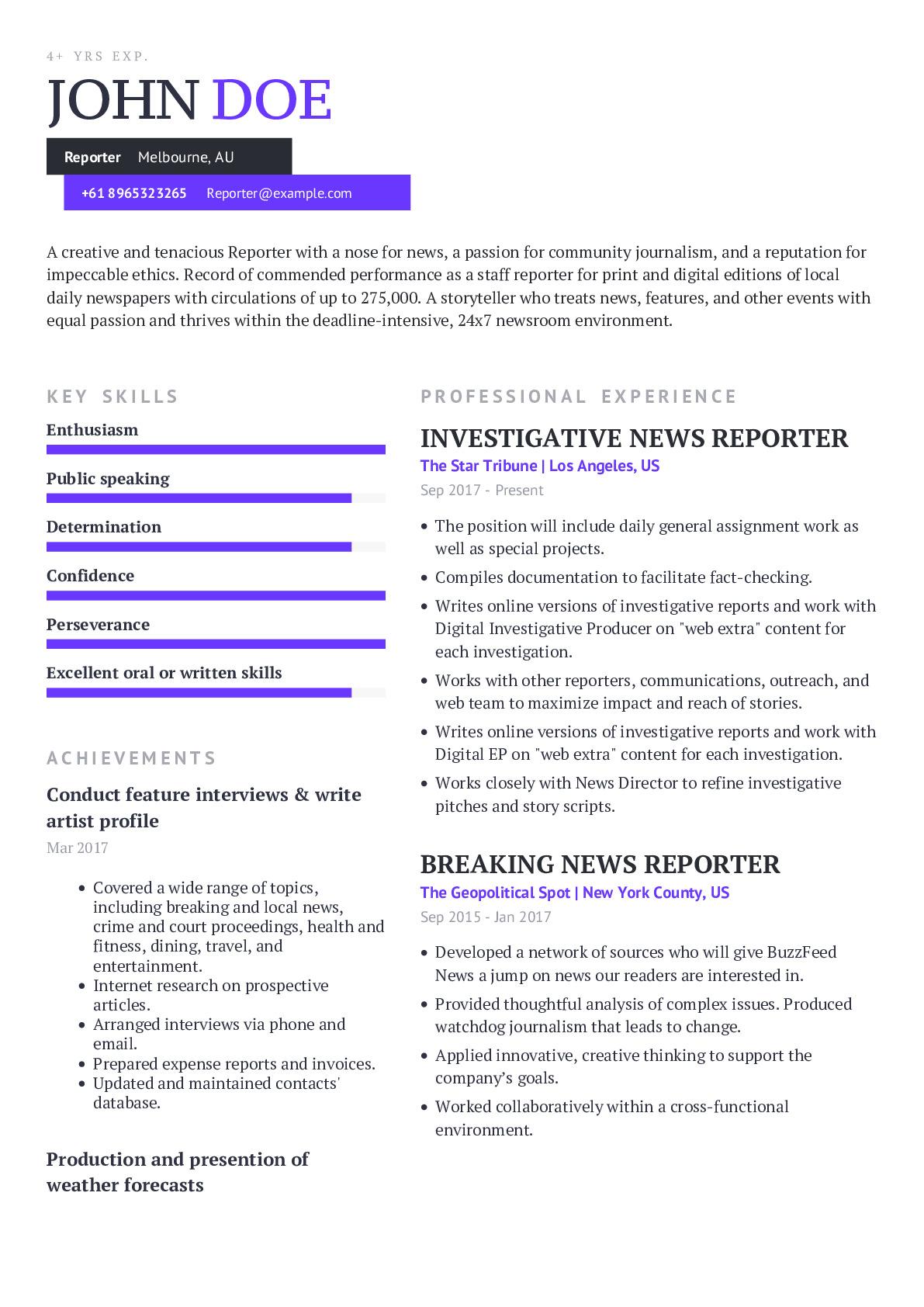 Reporter Resume Example