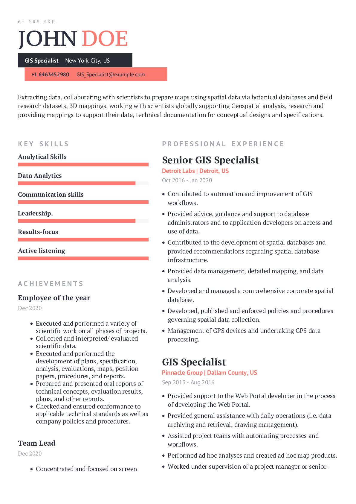 GIS Specialist Resume Example