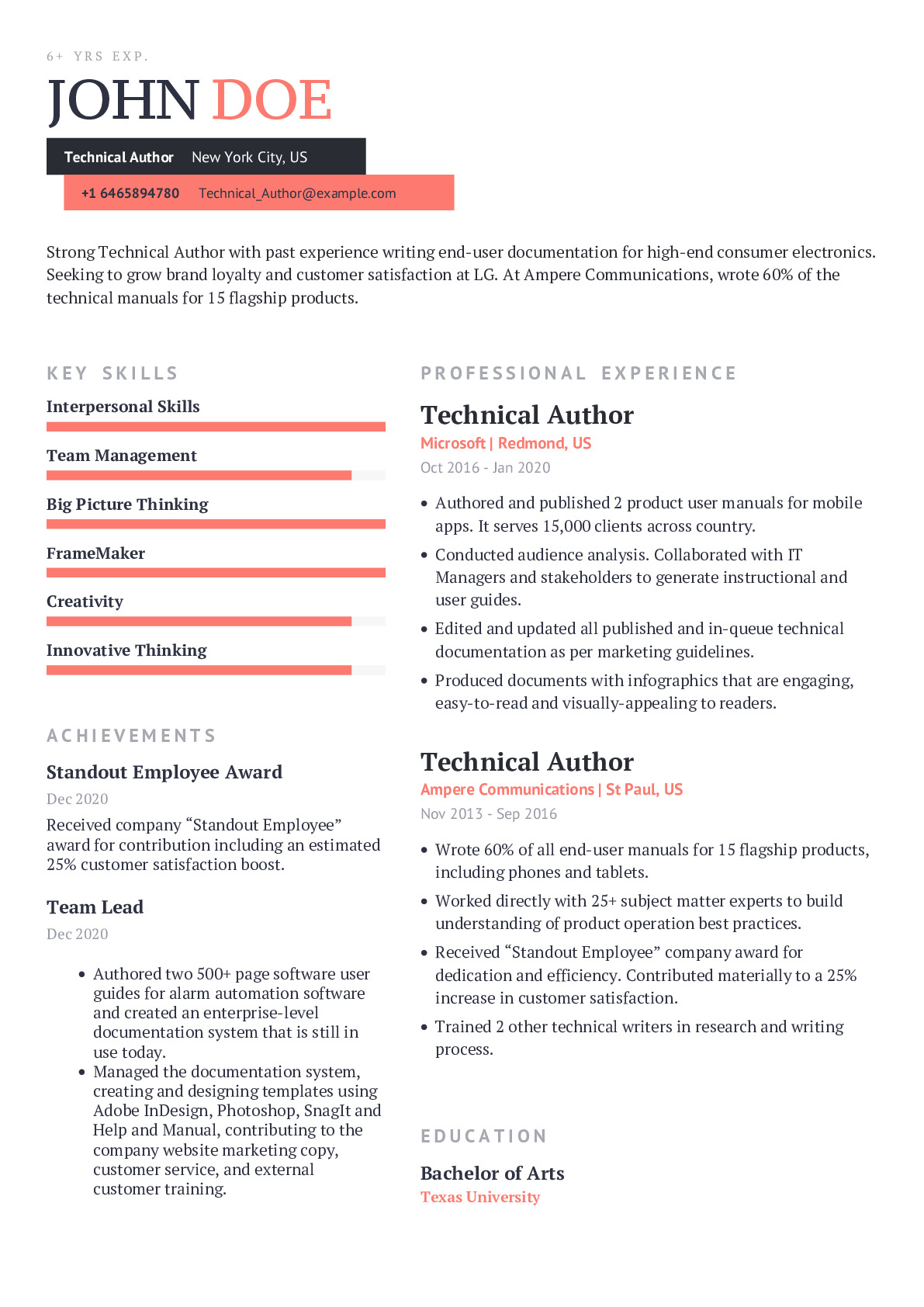 Technical Author Resume Example