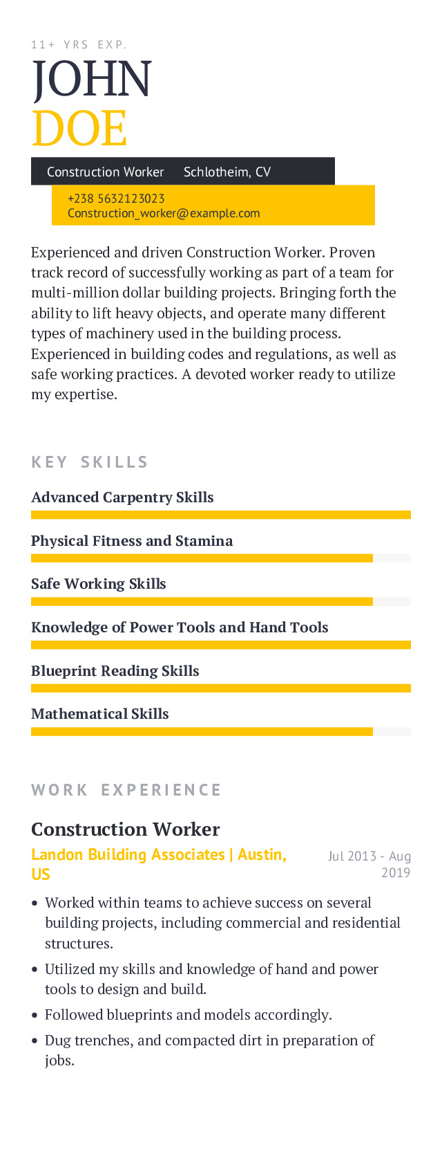 Construction Worker Mobile Resume Example